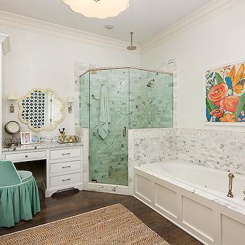 Teal Vanity Stool, Transitional, bathroom, Colordrunk Design