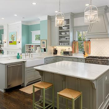 Grey Kitchen, Contemporary, kitchen, Benjamin Moore Fieldstone, Colordrunk Design