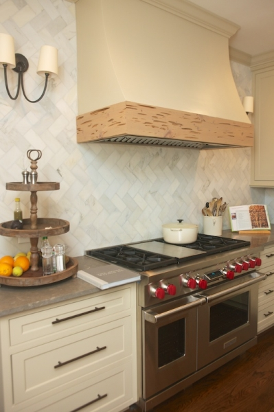 Marble Herringbone Backsplash