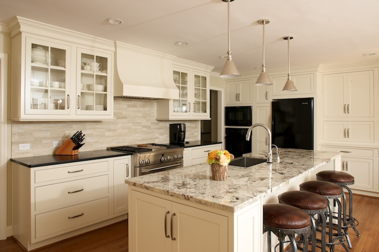 White And Gray Granite Countertops Transitional Kitchen