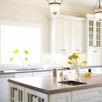 Butcher Block Island Top View Full Size. Beautiful Kitchen Features White  ...