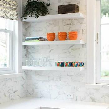 Floating Kitchen Shelves, Transitional, kitchen, Benjamin Moore Decorators White, Evars and Anderson
