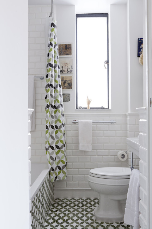 Small But Chic Bathroom With Ann Sacks Floor Tile And Tub Surround Waterworks Beveled Subway Shower