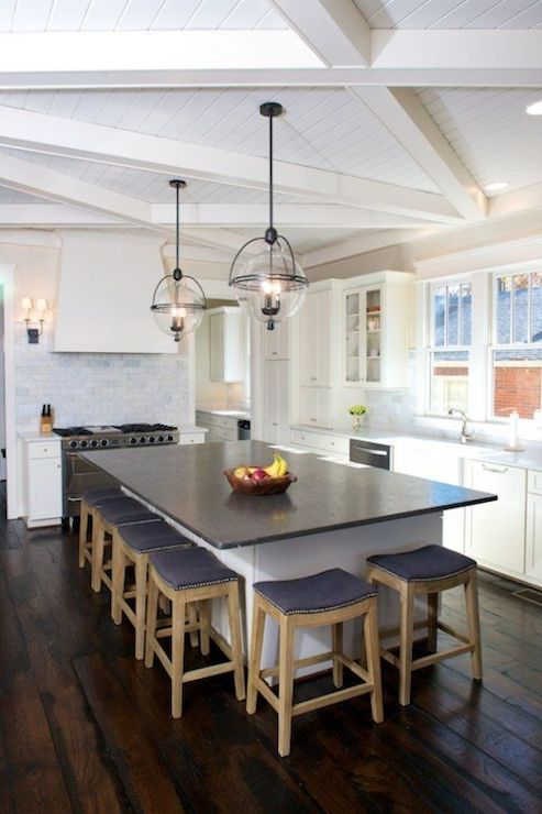 Criss Cross Wood Beams Transitional Kitchen Twin