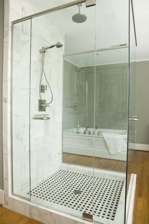 Walk in shower freestanding shower transitional bathroom twin companies - Glass shower head ...