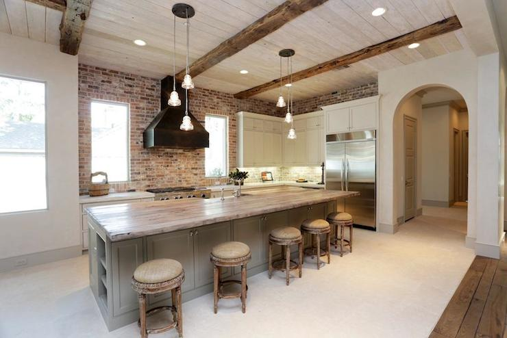 Reclaimed Wood Countertop Transitional Kitchen Har