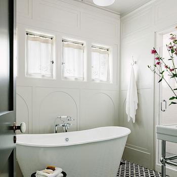 Black and White Tiled Floor, Vintage, bathroom, Jessica Helgerson Interior Design