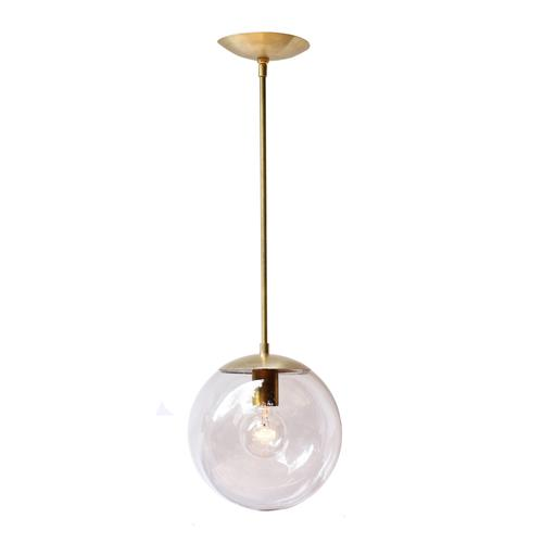 Welcoming White Kitchen Is Illuminated By Regina Andrew: Arteriors Home Brass Gala 1 Light Globe Pendant