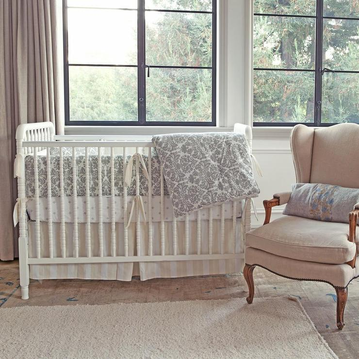 Brocade Slate Gray Three Piece Crib Set