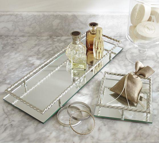 Mirrored Silver Braided Trays