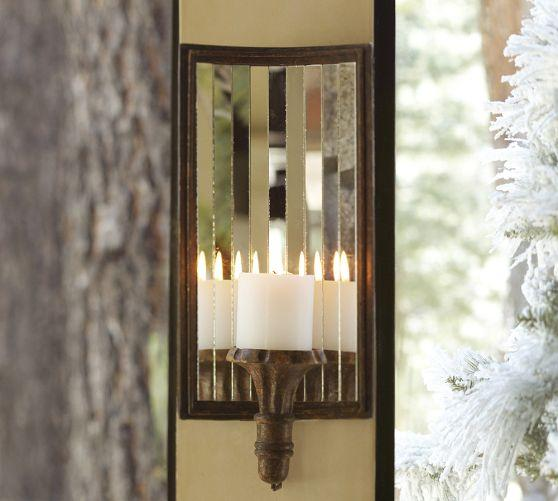 Mirrored Wall Sconces For Candles : Mirrored Antique Gold Candle Sconce