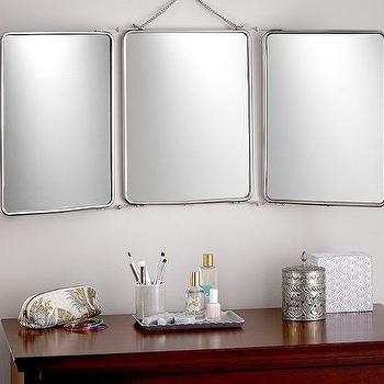 Tri Fold Silver Mirror