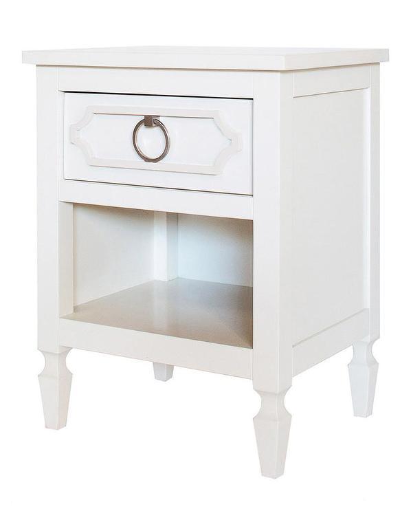 Round Wood Top Single Drawer White Nightstand