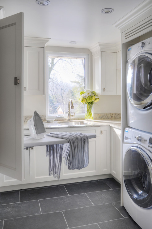 hidden ironing board transitional laundry room. Black Bedroom Furniture Sets. Home Design Ideas