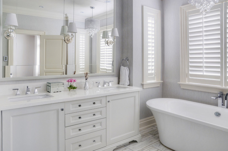 White And Lavender Wallpaper Transitional Bathroom
