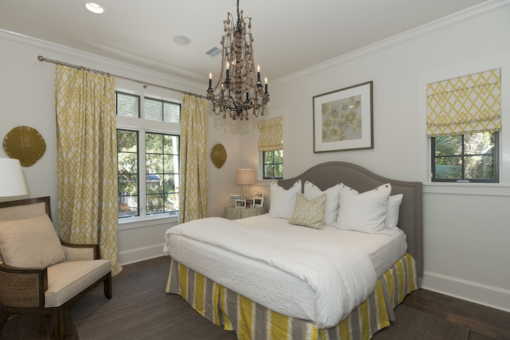 gray and yellow curtains design ideas, Bedroom decor