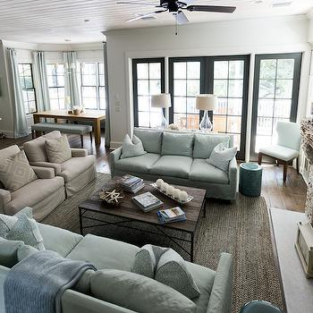living room with two couches. Slipcovered Sofas Two Living Room  Cottage