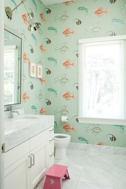 Aquarium Wallpaper Transitional Bathroom Art Haus