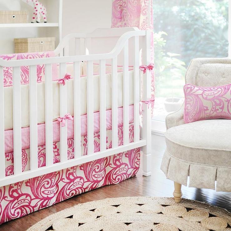 Hot Pink Damask Baby Bedding