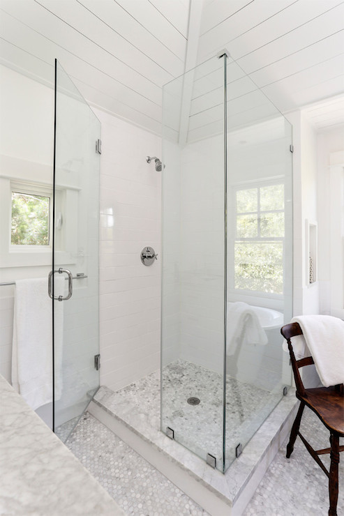 Carrara Marble Shower Surround Design Ideas