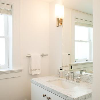 Floating Bath Vanity View Full Size. Sleek White Bathroom With Ceiling  Height Frameless Mirror ...