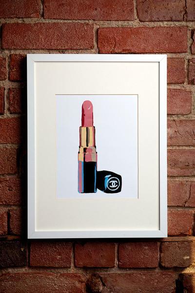 Pink Chanel Lipstick Print