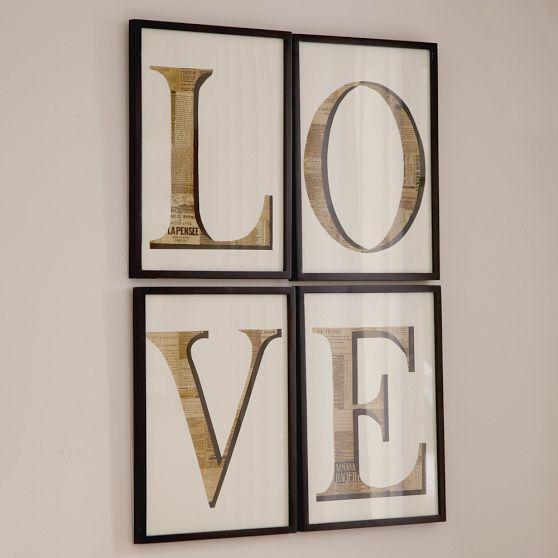 Love Newspaper Wall Art