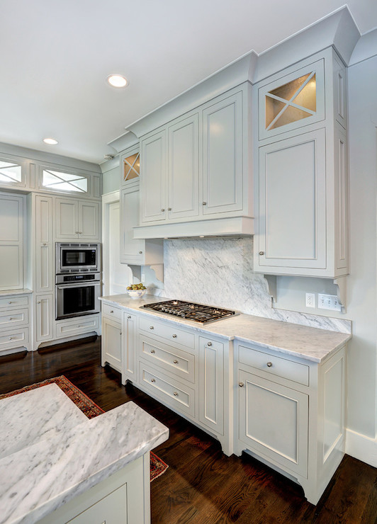 Light gray cabinets transitional kitchen benjamin for Grey kitchen cabinets what colour walls