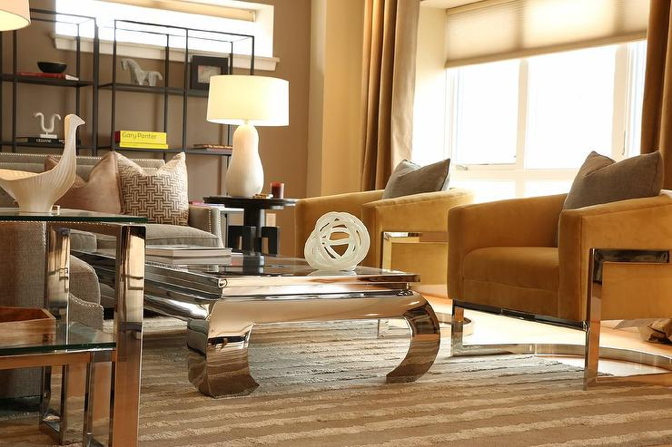 Chrome Coffee Table Contemporary Living Room Kenneth