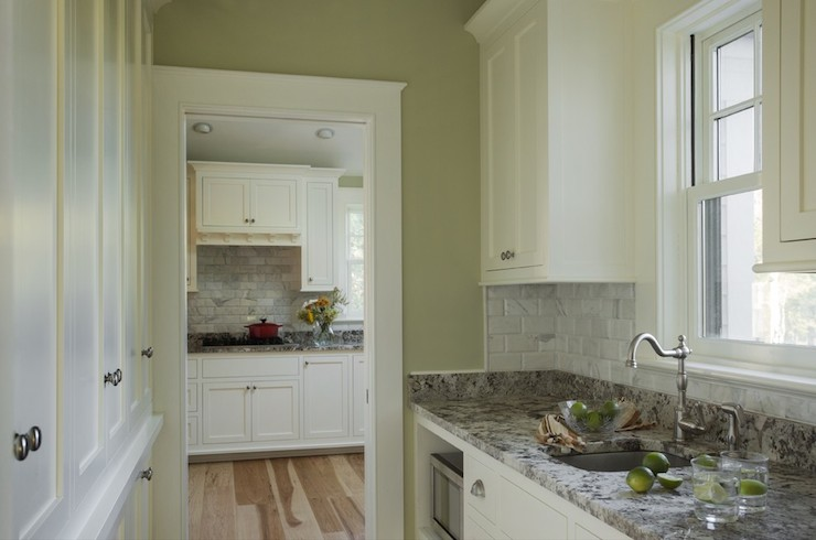 Kitchens with white cabinets and green walls Filmy Green Beveled Marble Subway Tiles Krolvodkacom Beveled Marble Subway Tiles Transitional Kitchen Jewett Farms