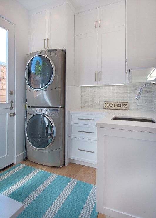 Stacked Washer Dryer Contemporary Laundry Room