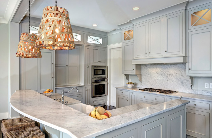 Light gray cabinets transitional kitchen benjamin for Gray owl benjamin moore