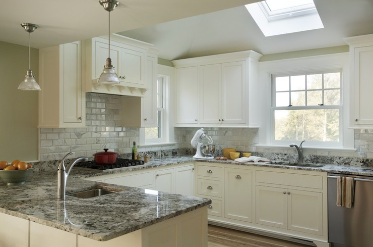 White Kitchen Cabinets With Gray Granite Countertops white granite countertops- transitional - kitchen - deslaurier