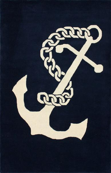 Navy Nautical Symbols Rug