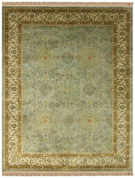 Elegance Collection Green And Gold Area Rug