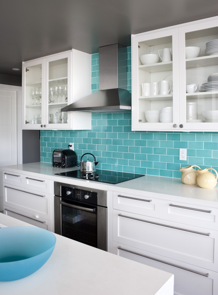 Turquoise Subway Tile Backsplash Design Ideas