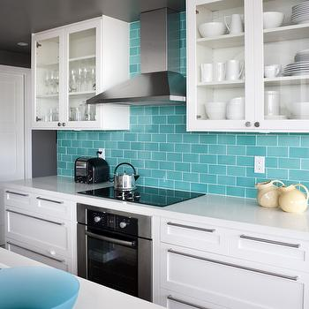Turquoise Subway Tiles, Contemporary, kitchen, House & Home
