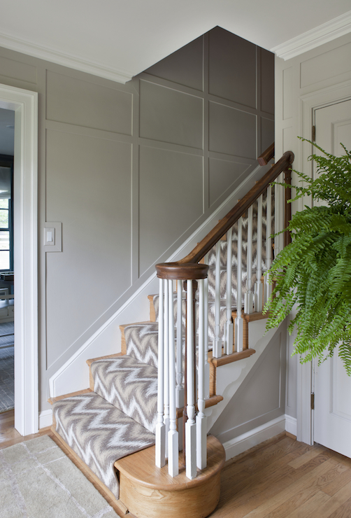 Ikat Stair Runner Contemporary Entrance Foyer