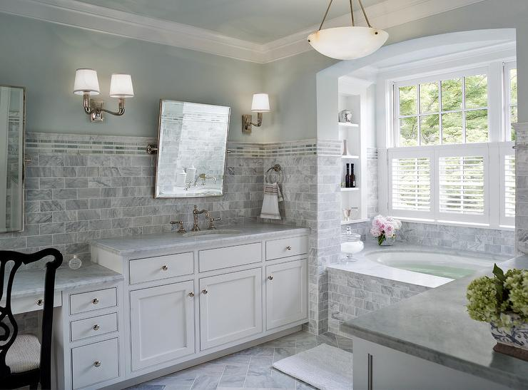 Marble Tiled Bathtub Transitional Bathroom Donald