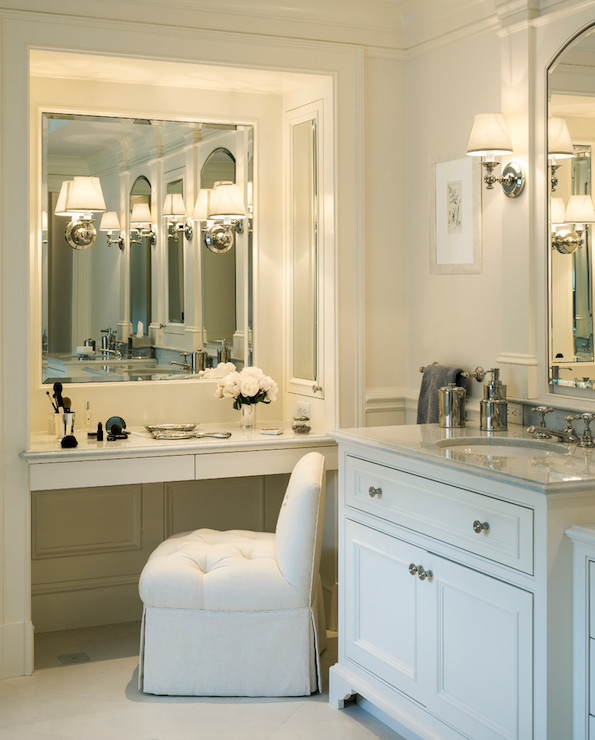 Built In Make Up Vanity Traditional Bathroom Jan