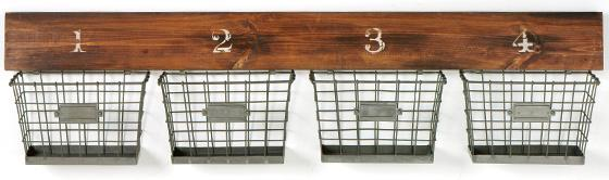 Wooden Wall Bracket with Wire Baskets