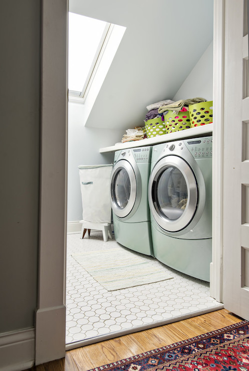 Washer And Dryer Nook Contemporary Laundry Room Rock