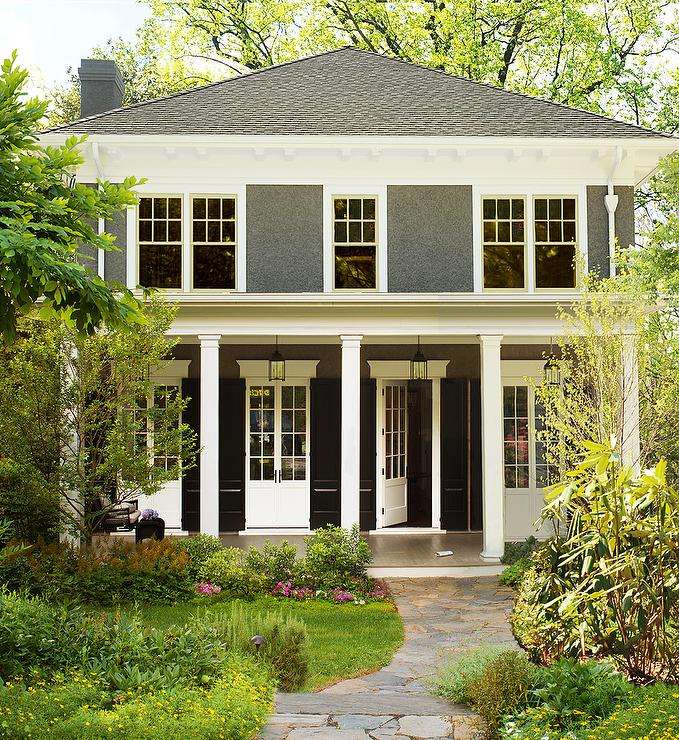 Exterior Columns Transitional Home Exterior Donald Lococo Architects