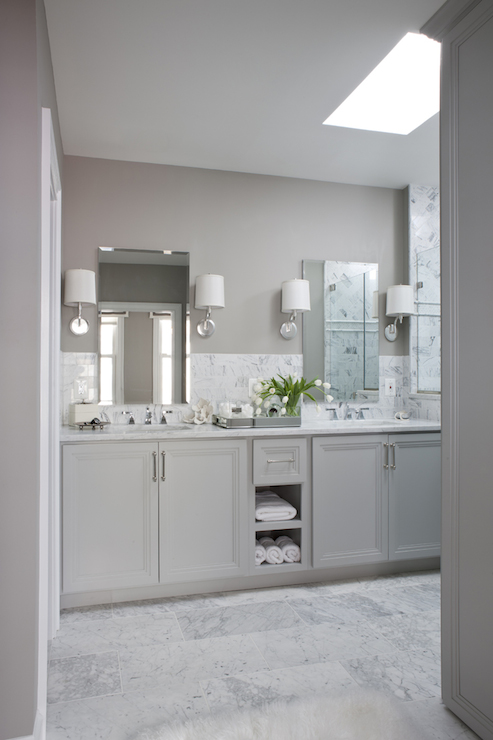 Gray Dual Vanity Transitional Bathroom Roxanne Lumme