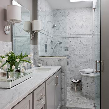 Gray Double Vanity, Transitional, bathroom, Roxanne Lumme Interiors