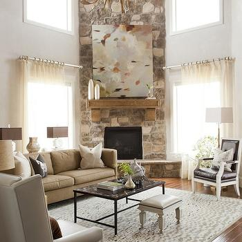 Corner Fireplace, Transitional, living room, Alice Lane Home