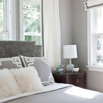White Curtains With Gray Ribbon Trim Design Ideas