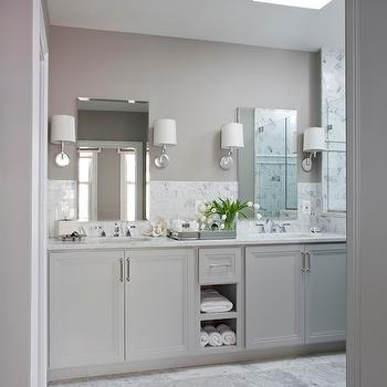 Gray Dual Vanity, Transitional, bathroom, Roxanne Lumme Interiors