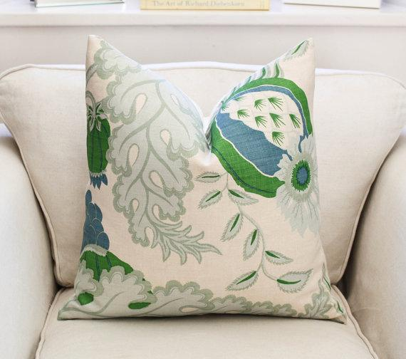 Christopher Farr Carnival Ivory And Green Pillow Cover