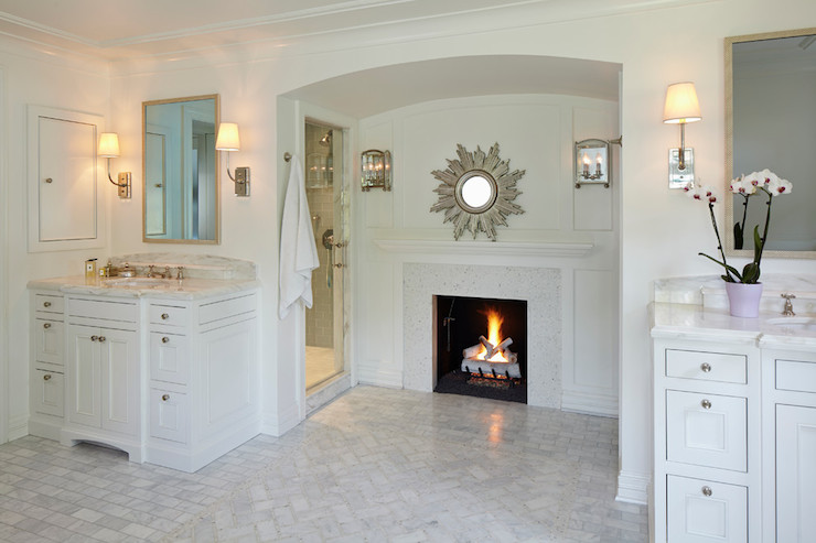 Master Bathroom Fireplace Transitional Bathroom
